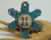 ceramic garden ornament small mask clay face house decoration ceramic pendant