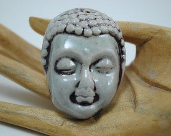 ceramic face pendant clay necklace ornament small face mask focal bead