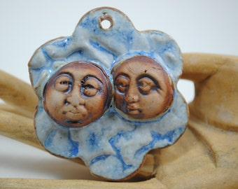 Ceramic clay pendant flower pendant clay necklace handmade bead ceramic ornament