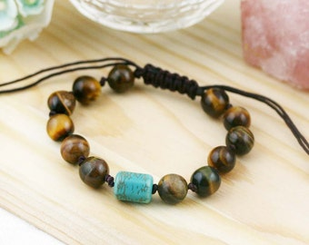 Wealth and decency knotted bracelet- Tiger eye and Turqurenite
