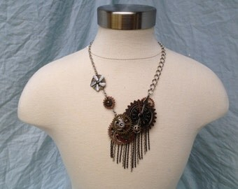 Steam Punk Necklace, Steampunk jewelry, Steampunk Pendant, Mixed Metal jewelry, Statement necklace