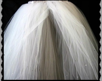 Tulle Skirt, 30inch length tutu, Tea Length, Double Color, Any Size Made. Priority Shipping , Wedding Skirt, Flower Girls, Formals, Birthday