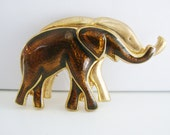 Vintage gold and brown enamel elephant pair brooch (G6)