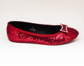 Sequin Starlight Tiny Sequin Red Ballet Slippers Flats Shoes with Silver Crystal Rhinestone Bows