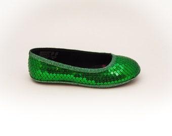 Sequin Custom  Girls Kelly Green Dress Flats Shoes