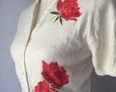 ON HOLD Lovely Rose Cropped Cardigan Short Sleeve