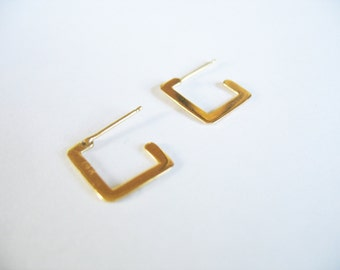 """14k Yellow Gold Square Hoop Earrings Small 1/2"""" 1 mm thick Pierced Post"""