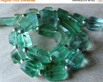 35% OFF Teal Green Fluorite faceted nugget- last strand