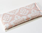 Lavendar Eye Pillow Valentines Day Gift for Her Light Pink and White Damask Meditation Relaxation Aromatherapy