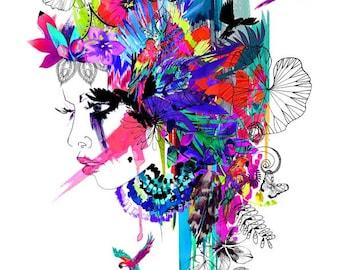 Tropical Girl - Mardi Gras edition // LIMITED EDITION Giclée print - fashion illustration by Holly Sharpe