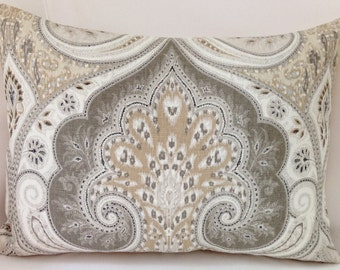 Damask Pillow Cover Neutral Pillow Throw Pillow Beige Cushion Accent Linen KRAVET