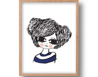 Girl Portrait Illustration Wall Art Print Young Female Portrait Drawing Giclee Art Print Poster Wall Decor Large Eyes Girl Illustration Art