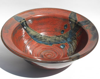 Beautiful Flat Rim Bowl - Large Serving Bowl - Centerpiece Bowl - Brick Red with Highlight in deep Blue tone  Ready to Ship