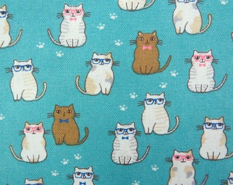 2638C -- Lovely Cats Wearing Glasses in Turquoise Blue, Kawaii Cat Fabric