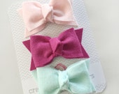 BIG Everyday Felt Bows- You Choose 3 Colors
