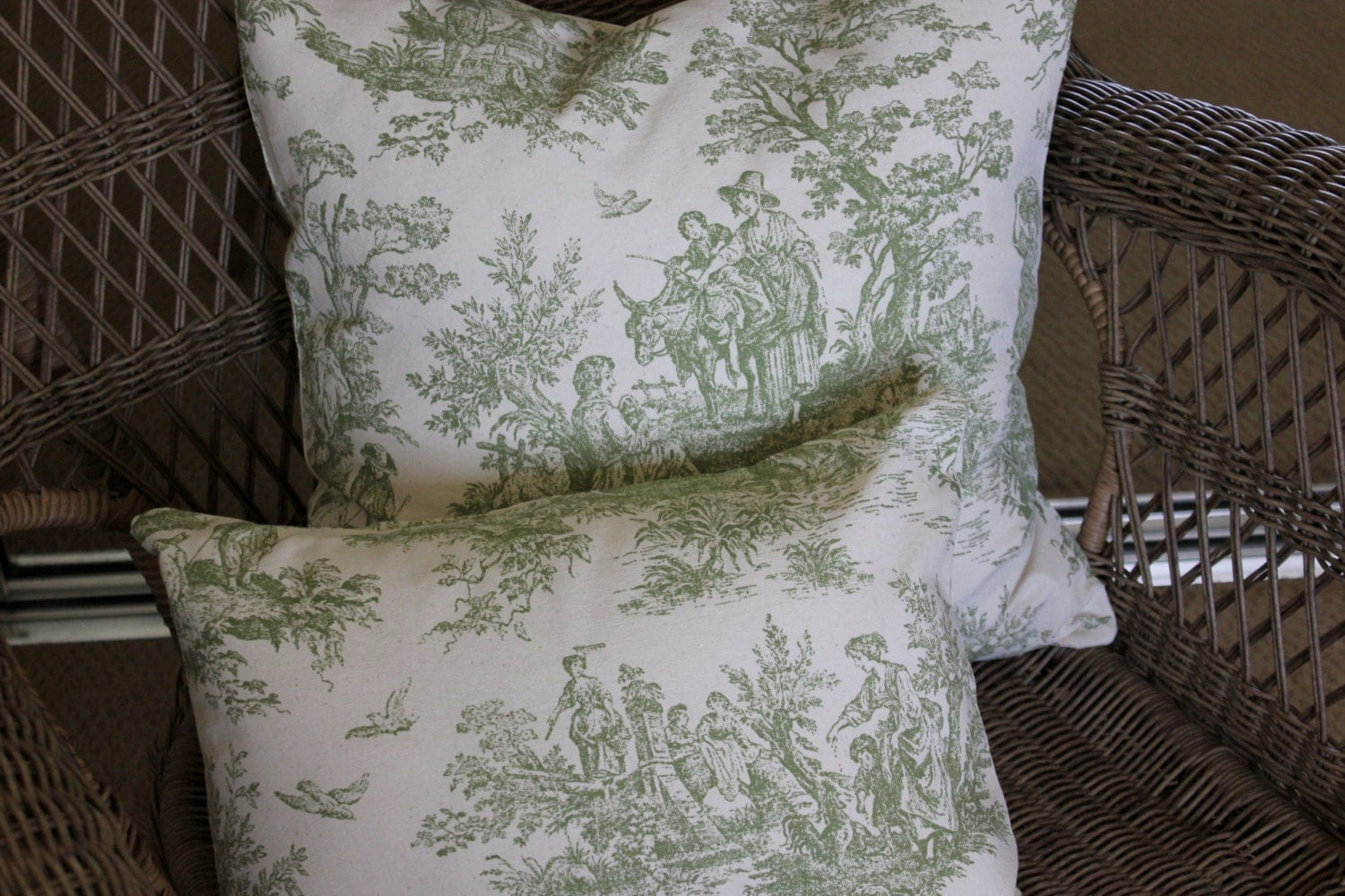 decorative pillow covers toile pillow cover sage green and. Black Bedroom Furniture Sets. Home Design Ideas