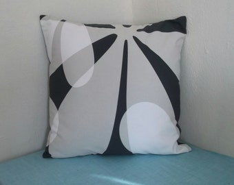 Tan Grey and White Flower Pillow Cover 20x20