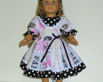 Paris print dress designed for American Girl 18 inch doll   No. 661