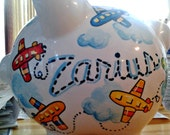Personalized Piggy Bank Airplane Design Primary Colors Boys Room Handpainted