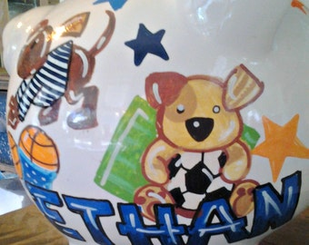 Personalized Sports Dogs Baby Bedding Handpainted Piggy Bank