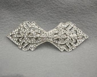 Art Deco Bridal Austrian Crystal Hair Clip / Swarovski Crystal Barrette Hair Clip / Bridal Hair Clip / Deco Inspired  Hair Clip