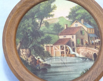 Water Wheel, vintage wall hanging, small Plaque, fisherman, country cottage plaque, vintage home decor,hanger, small round plaque, unique