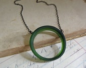 Green Bottle Glass Bib Long Necklace Recycled Jewelry