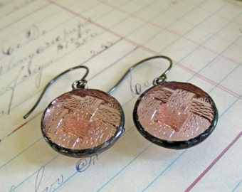 Glass Earrings Upcycled Jewelry Vintage Buttons