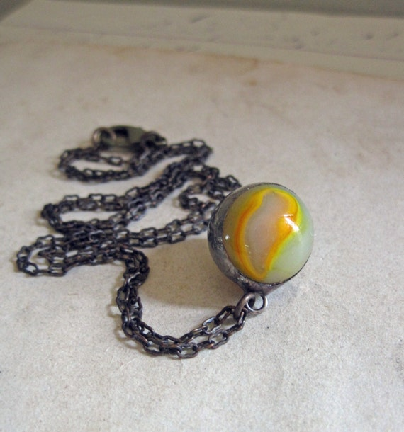 Glass marble necklace repurposed jewelry yellow swirl for How to make marble jewelry