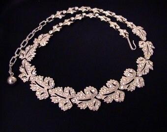 Vintage ORA Pave Crystal Rhinestone Leaf Link Necklace