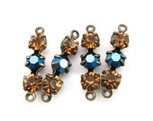 Metallic Blue & Light Smoked Topaz Triple Rhinestone Charms Connectors with Swarovski Crystal Set Stones - 4