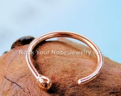 Rose Gold Nose Ring / Budded Open Nose Ring 14 Karat Solid  Rose Gold / Dainty Nose Ring  - CUSTOMIZE