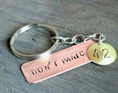 Don't Panic Keychain 42 - big 42 - Copper, brass and steel chain
