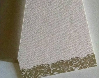 Gold Lace Letterpress Stationery Note Cards - 5 pack