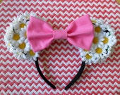 White Daisy Minnie Ears With Pink Bow