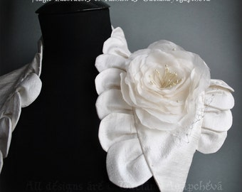 Wedding Bolero, Shrug Dupioni Raw Bridal Silk Ivory, Petals Frill, Rose Brooch, LIKE A ROSE, Ivory