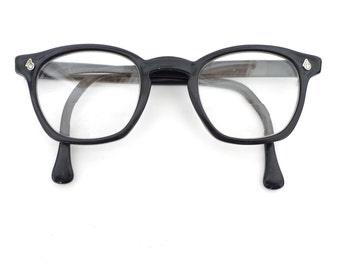 BIG American Optical Black Wayfarer Glasses Eyeglass Frame AO Large 48 26 6.25 Mad Men Sunglass 8 Barrel Tart Arnel Military Gman sale