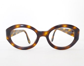 Italian  Jackie O Eyeglass Frame Chunky Big Mod Thick Tortoise Italy Thick Round Oval Designer Eyewear Cat Eye Glasses Sunglasses sale