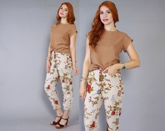 80s FLORAL Print High Waist PANTS / 1980s Flowers & Berries Natural Linen Trousers xs - s
