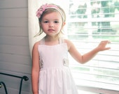 Sun dress with white dotted swiss fabric, sun dress with pantaloons