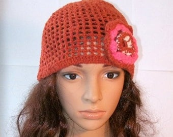 Adult Red Crochet Hat with a Flower.