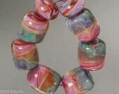 Boro beads, (qty 8) Lampwork Glass Bead Set, Seafoam and pink   SRA Artisan beads ---  #192