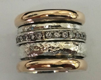 Spinner ring , spinning rings , cz rings sterling silver 9 ct gold zircons