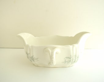 Ironstone Gravy Boat . Antique Transferware China Sauciere . Transfer Ware . Serving Entertaining