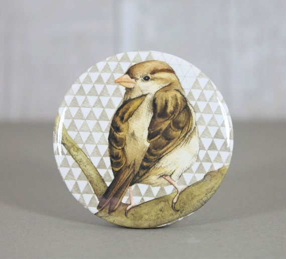 House sparrow illustration handmade pocket mirror.  Bird picture.