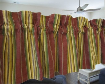 Multi Striped Cotton Twill Self Lined Curtain Valance 76 wide