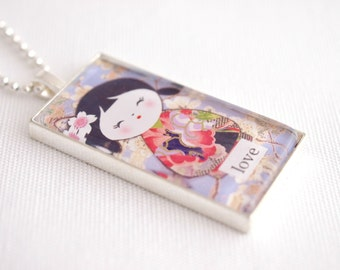 kokeshi doll necklace, kawaii doll domino necklace, kokeshi kawaii jewelry