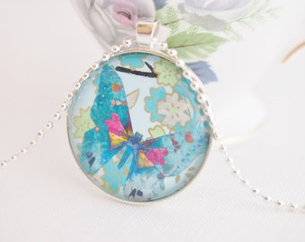 blue butterfly necklace, chiyogami paper jewelry, pretty butterfly collage pendant necklace blue