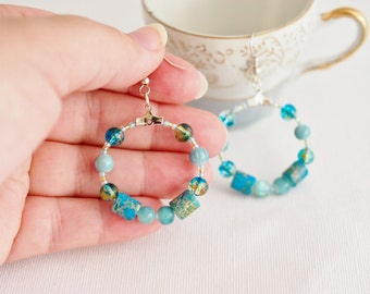 beaded hoop earrings, turquoise hoop earrings, summer boho jewelry