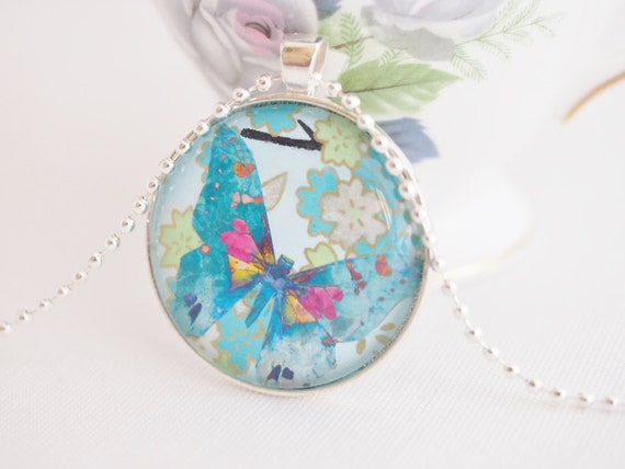 Blue Butterfly Jewelry: Blue Butterfly Necklace Chiyogami Paper Jewelry Pretty